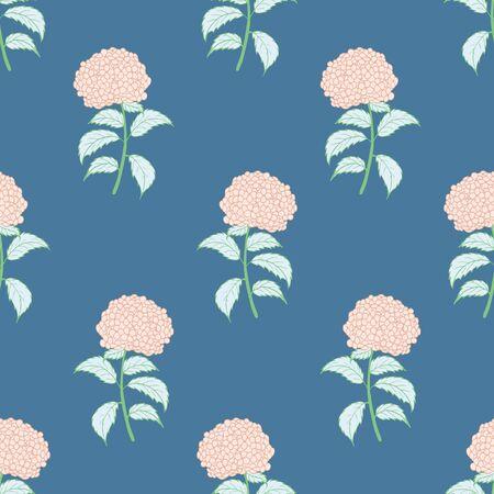 Bright flower seamless pattern with pink hydrangeas. Illustration