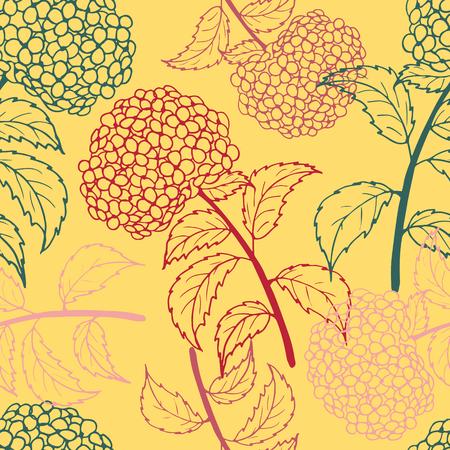 Bright flower seamless pattern with multicolor hydrangeas.