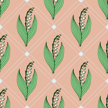 Gentle flower seamless pattern with lily of the valley.