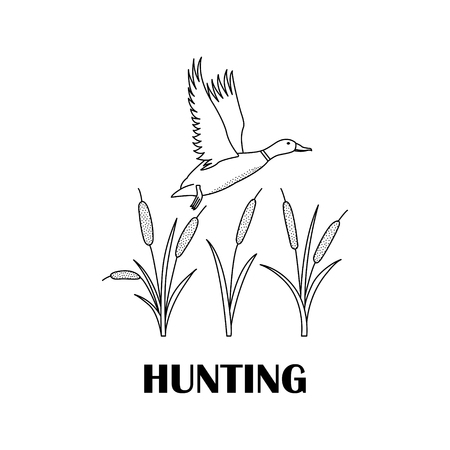 Black-and-white logo for hunters with a duck and a cane. Illustration