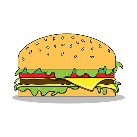 A Vector illustration of the hamburger on the white background Burger icon Illustration