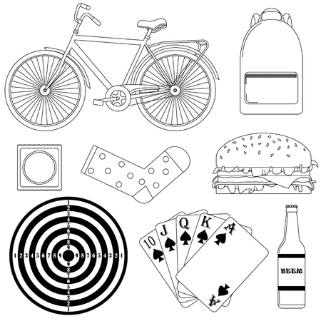 Set of vector illustrations - men's way of life.  Black-and-white line art.
