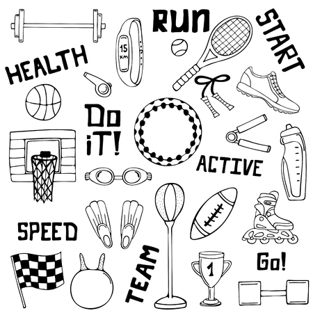 Vector set of sport illustrations. Line art. Vettoriali