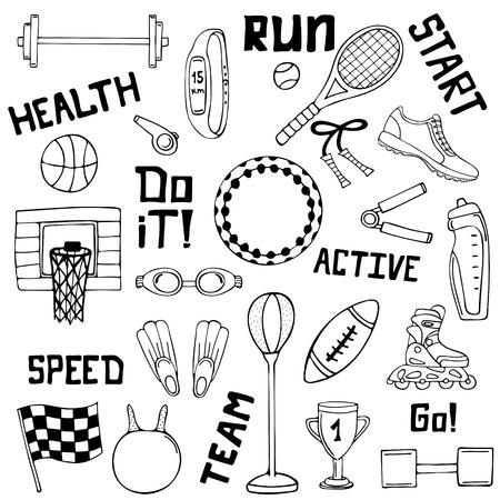 Vector set of sport illustrations. Line art. Ilustracja