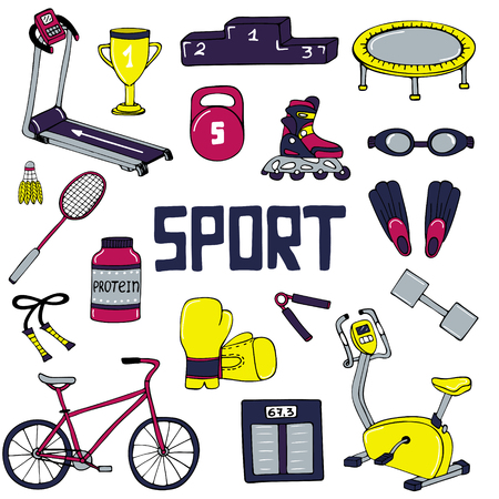 Vector set of sport illustrations. Line art. Vectores