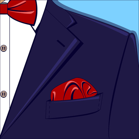Vector illustration of a blue man suit with red bow-tie and pocket square, white shirt on the blue background. Illustration