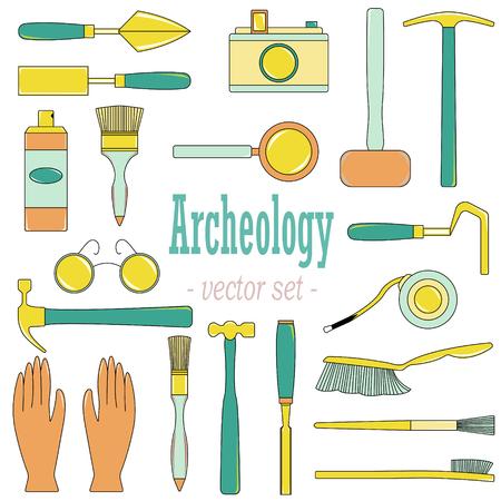 Un conjunto de ilustraciones vectoriales para arqueólogos y geólogos. Foto de archivo - 97143580