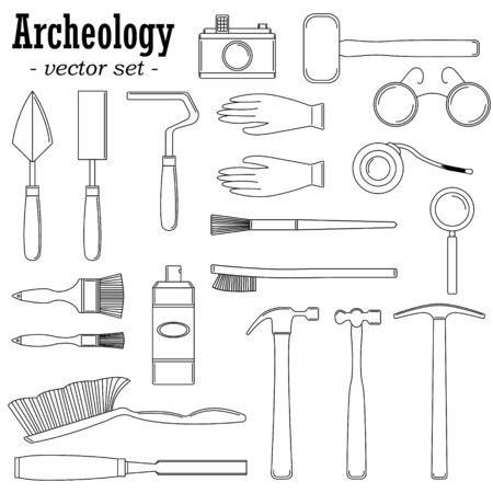 A set of vector illustrations for archaeologists and geologists. Çizim