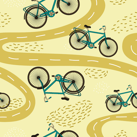 Cute vector seamless pattern with bicycles and paths. Archivio Fotografico - 97387190