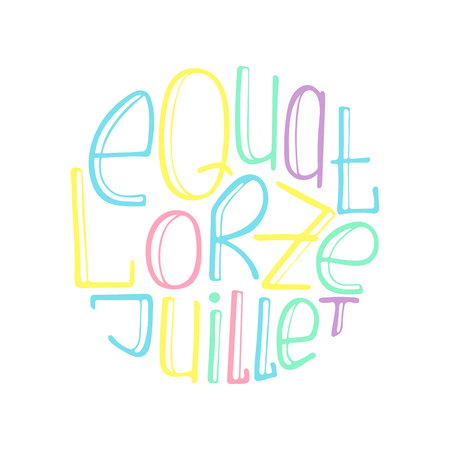 Unique illustration with a hand-drawn lettering for the Bastille Day. June 14.