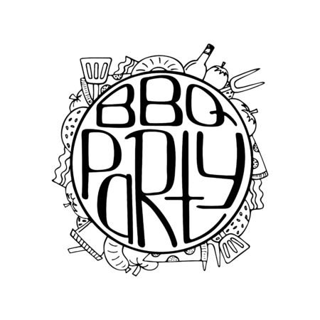Unique illustration with a hand-drawn lettering for the BBQ Party. Round form.