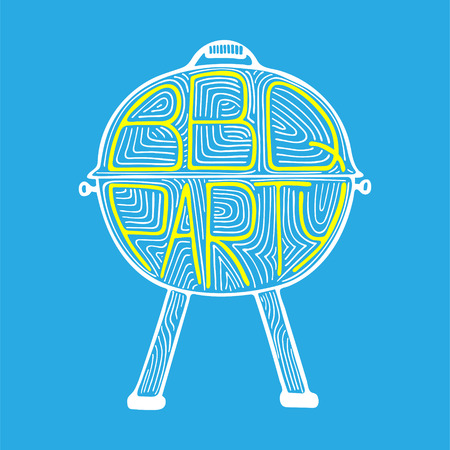 Unique illustration with a hand-drawn lettering for the BBQ Party.  Illustration
