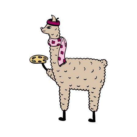 Cute hand-drawn illustration of a lama-artist with the palette.  Illustration
