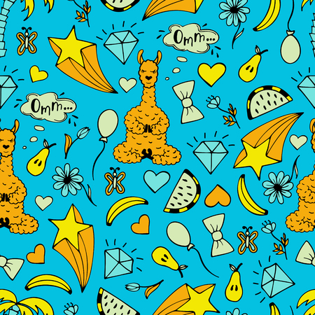 The cute hand-drawn seamless pattern of a Lama in the lotus pose and gentle illustrations such as diamonds and fruits.
