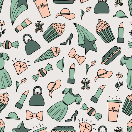 Cute seamless pattern with hand-drawn girl illustrations.