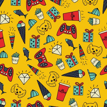 Cute seamless pattern with hand-drawn illustrations. Doodles. Illustration
