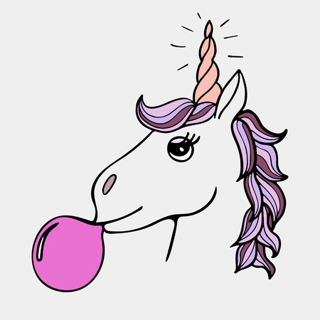 Lovely hand-drawn unicorn the inflating sphere from chewing gum.