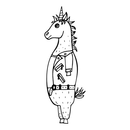 Lovely hand-drawn unicorn-rocker with a leather jacket and with a mohawk. Illustration