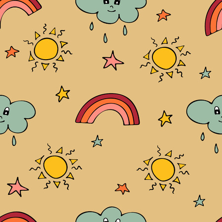 Lovely seamless pattern with the hand-drawn sun, clouds, rainbows, and stars. Vector illustration.
