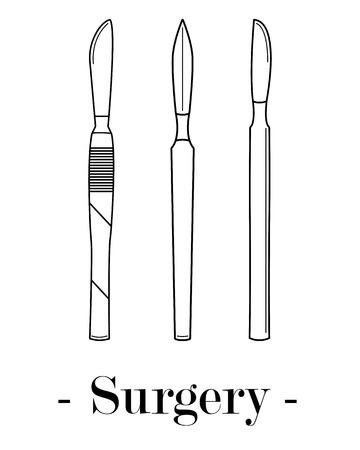 Vector illustration with three scalpels. Medical illustration. Illustration