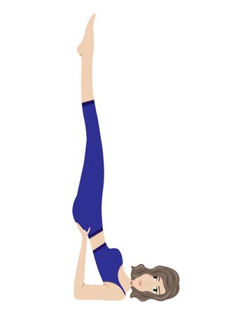The girl practicing yoga. Viparitakarani Mudra (Upside-Down Seal)