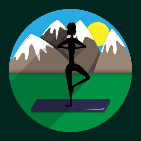 Silhouette of the girl the practicing yoga against the background of mountains.  Vrishasana (Tree Pose).