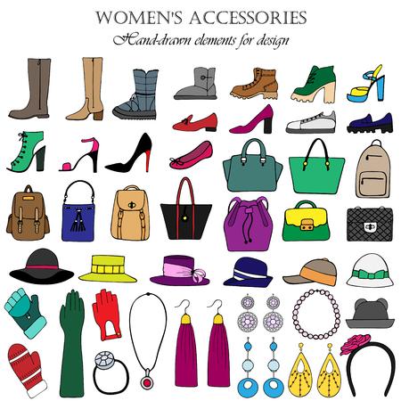 Color set of hand-drawn women's accessories. Stock Illustratie