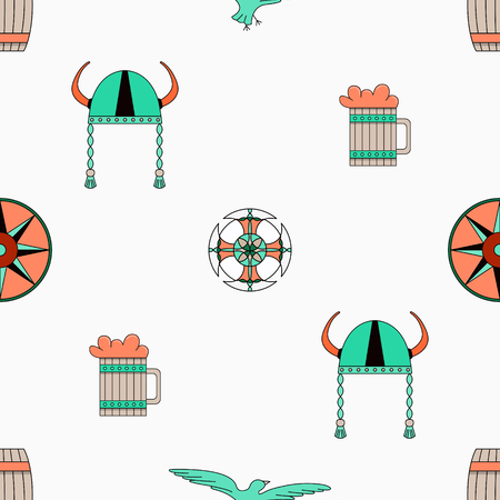 Bright vector seamless pattern about vikings life.