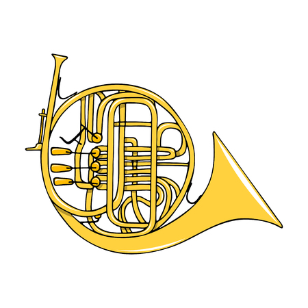 Color hand-drawn musical instrument - french horn.