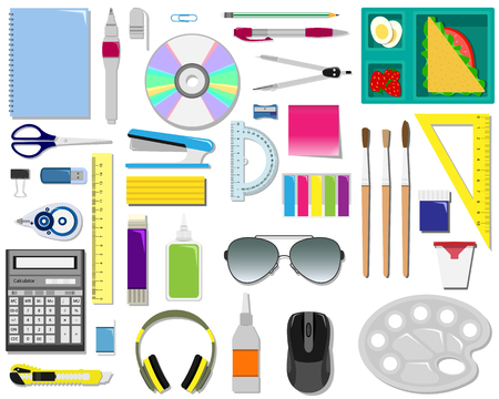 Color vector set of office supplies illustration.