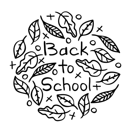 Hand-drawn lettering - Back to school, with leaves and tic-tac-toe. Black-and-white line art.