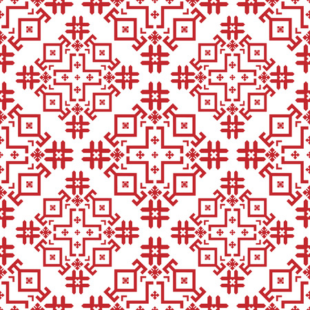 Red-and-white geometrical seamless pattern in the Bulgarian style.