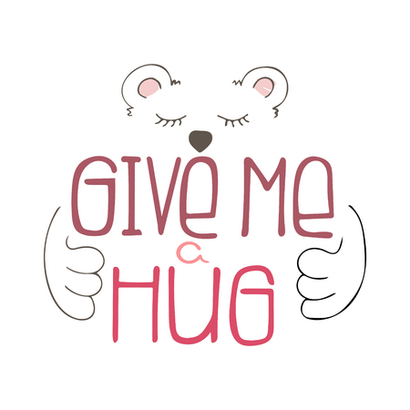 Citazione di lettere disegnate a mano uniche con una frase Dammi un abbraccio.
