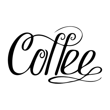 Hand-drawn lettering - Coffee. Monochrome vector drawing
