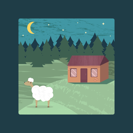 Vector poster with a rural landscape, a lodge and a sheep for design.  Stock Illustratie