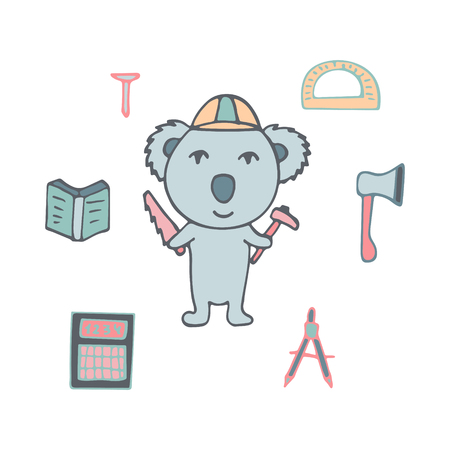 Hand-drawn koala the civil engineer with the axe and a saw. Ilustração