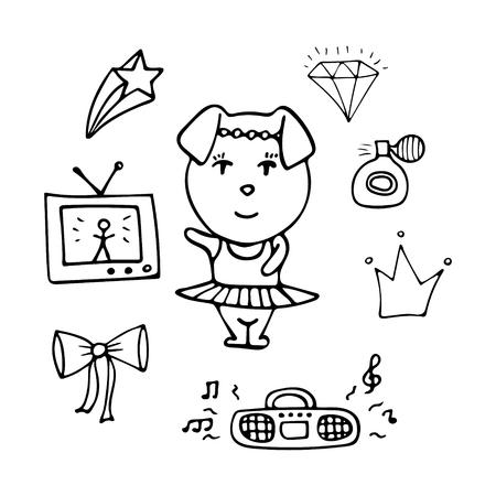 Amusing monochrome pig the dancer in a tutu. Illustration