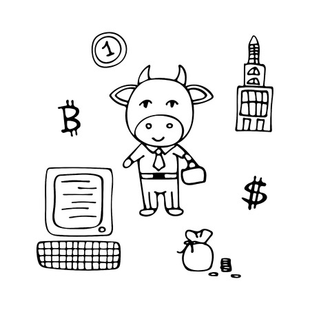 Vector business bull the broker in a suit with a suitcase.