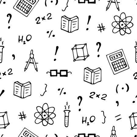 Monochrome seamless pattern with books, symbols and calculators. Vettoriali