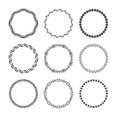 Set of 9 ethnic traditional tribal round frames.