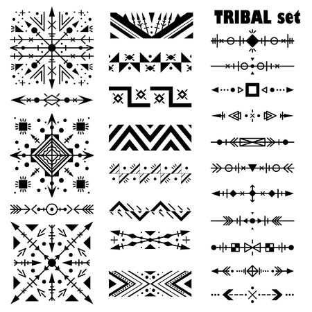 Monochrome modern vector set. Brush set in tribal style.