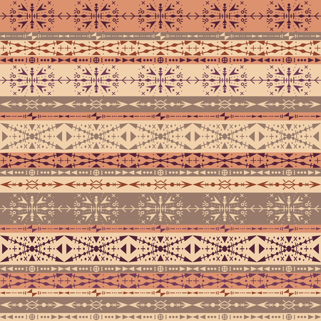 Brown tribal seamless pattern with ethnic ornaments Vector Illustratie