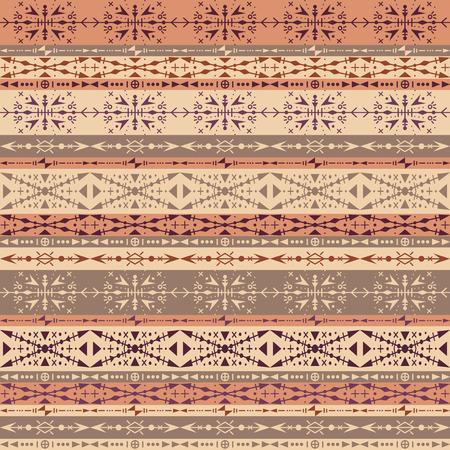Modèle sans couture tribal marron avec ornements ethniques Vecteurs