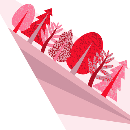 Flat pink illustration with the wood and a field. Illustration