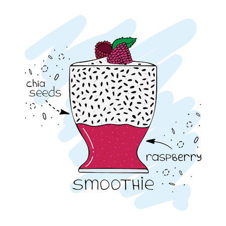 Hand-drawn illustration of superfood of a smoothie with chia seeds and raspberry. Illustration