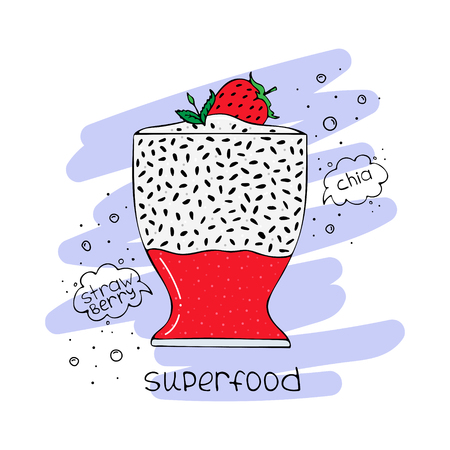 Hand-drawn illustration of superfood of a smoothie with chia seeds and strawberry. Illustration