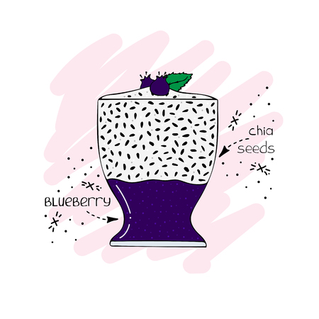 Hand-drawn illustration of superfood of a smoothie with chia seeds and blueberry.