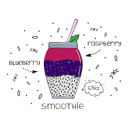 Hand-drawn illustration of superfood of a smoothie with chia seeds, raspberry and blueberry. Illustration