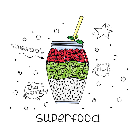 Hand-drawn illustration of superfood of a smoothie with chia seeds, pomegranate and kiwi.