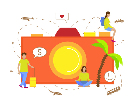 Vector illustration for tourism. Small men travelling with camera.